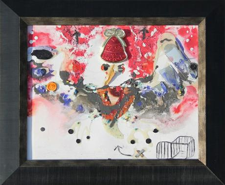 thumbnail for Chicken Wallah #2, recyclable objects with acrylic paint and oil pastel on 11 x 14