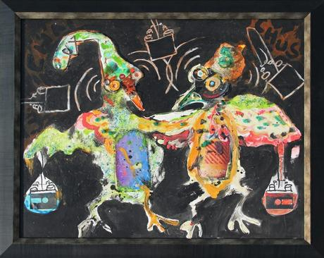 thumbnail for Chicken Wallah #4, recyclable objects, acrylic paint and oil pastel on 20 x 28