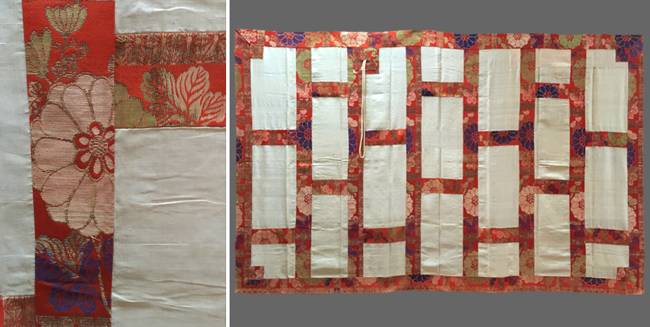 Japanese late Edo silk brocade kesa, buddhist priest's vestment • late Edo period 19th cent