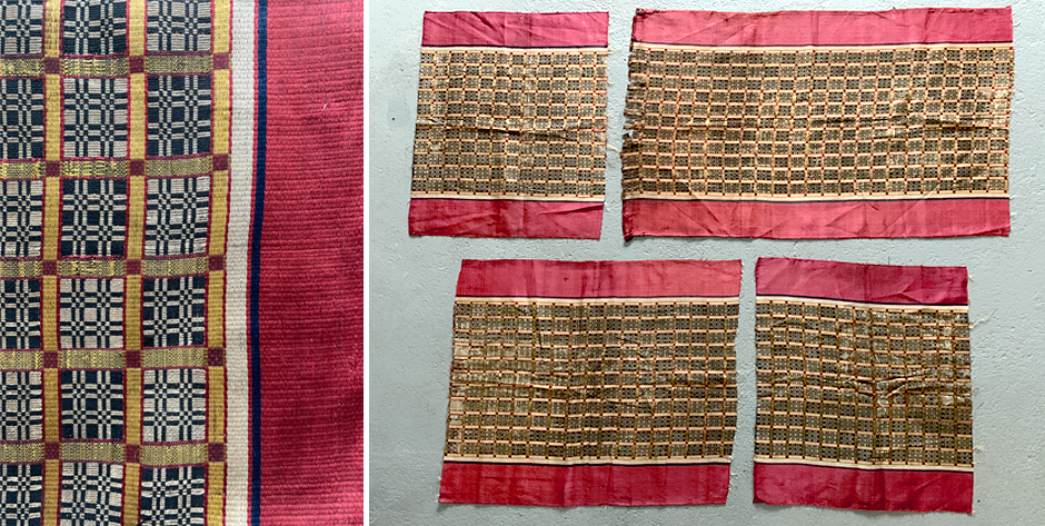 Moroccan or Algerian silk compound weave sash fragments from a single strip • 18C