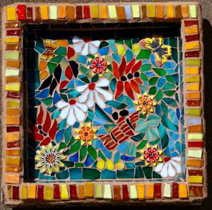 Glass mosaic Flower Pattern on concrete birdbath. SOLD for R900