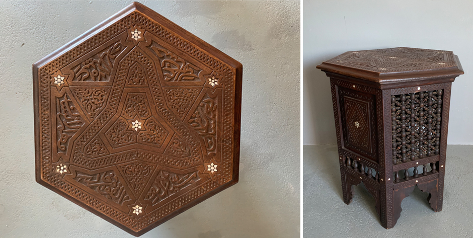 Ottoman period Syrian hexagonal table of carved walnut and mother of pearl • circa 1900