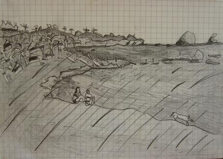 thumbnail for San Agustinillo, pencil on 6 x 8