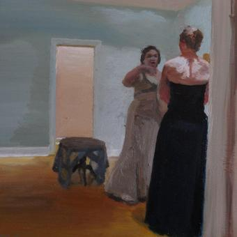 thumbnail for Dancers of Delphi/ Sandra on her wedding day. Oil on wood. 30 x 40cm