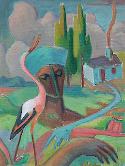 Landscape with house, crane and head - SOLD