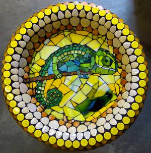 Mosaic ceramic & glass Chameleon birdbath. SOLD for R1600