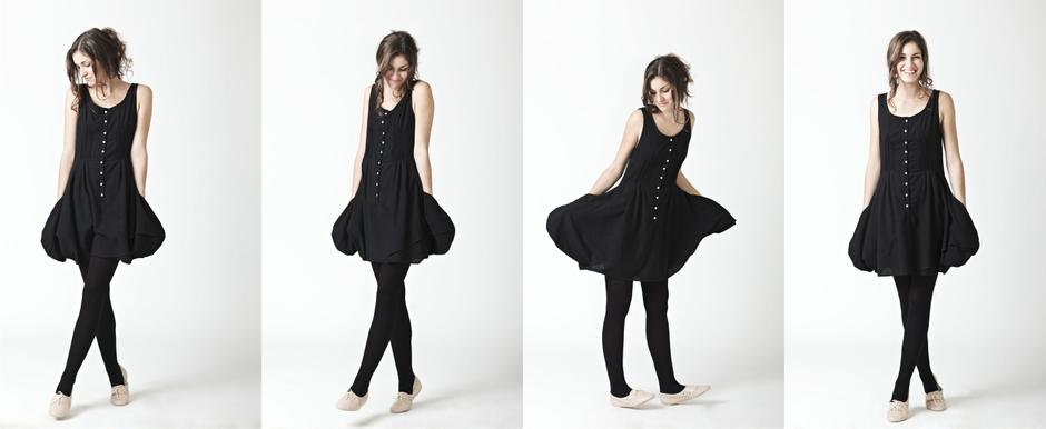 Black Bubble Dress with Mother of Pearl Button Detail; Lo, Autumn/Winter 2011