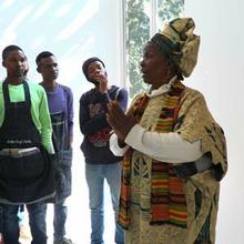 Mmakgabo Sebidi engages with students about her work