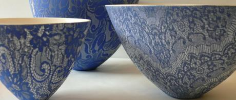 1.15 Delft blue earthenware bowls with lace glaze.