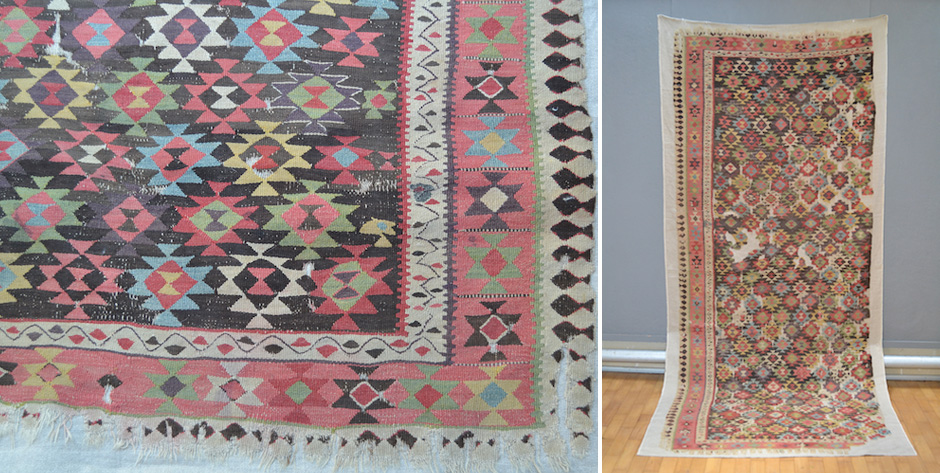 Very rare Azerbiajan or South Caucasian kilim fragment • 19th cent or earlier