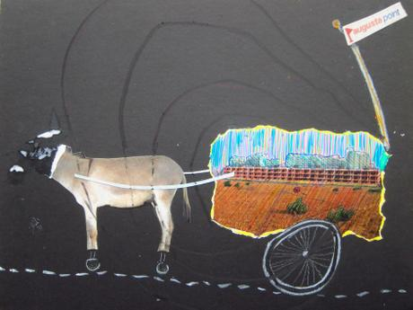 thumbnail for Mule of Fortune, collage, marker & oil pastel on 8 x 14