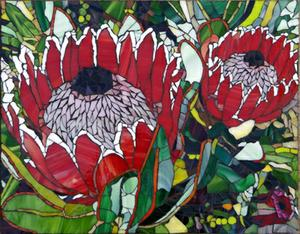 Two proteas glass mosaic mural. SOLD for R6000