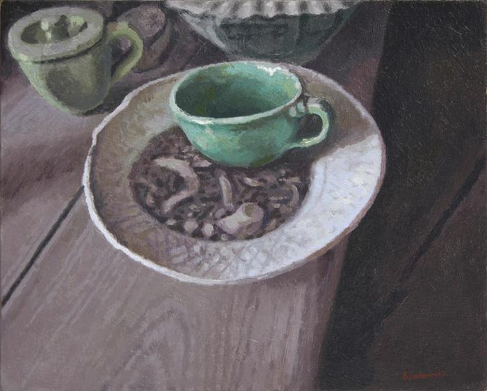 Green cup in Hylton Nel's studio - SOLD