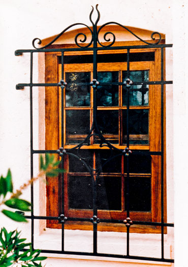 Burglar bars with copper detail