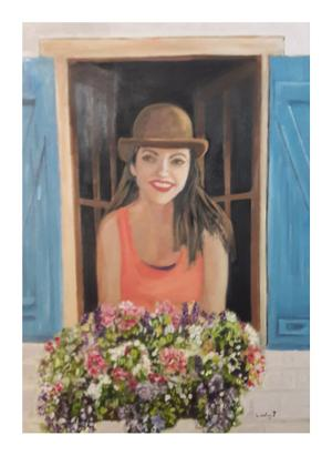 janine Downing Sauvage avec joie Oil on canvas 80 x 60  R3000
