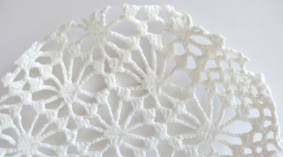 5.1  Porcelain Crocheted plate.