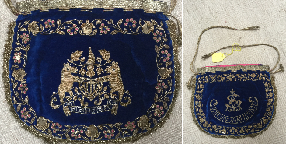 Indian Narsingarh State velvet purse dedicated in honour of Arjun Singh • possibly 1897