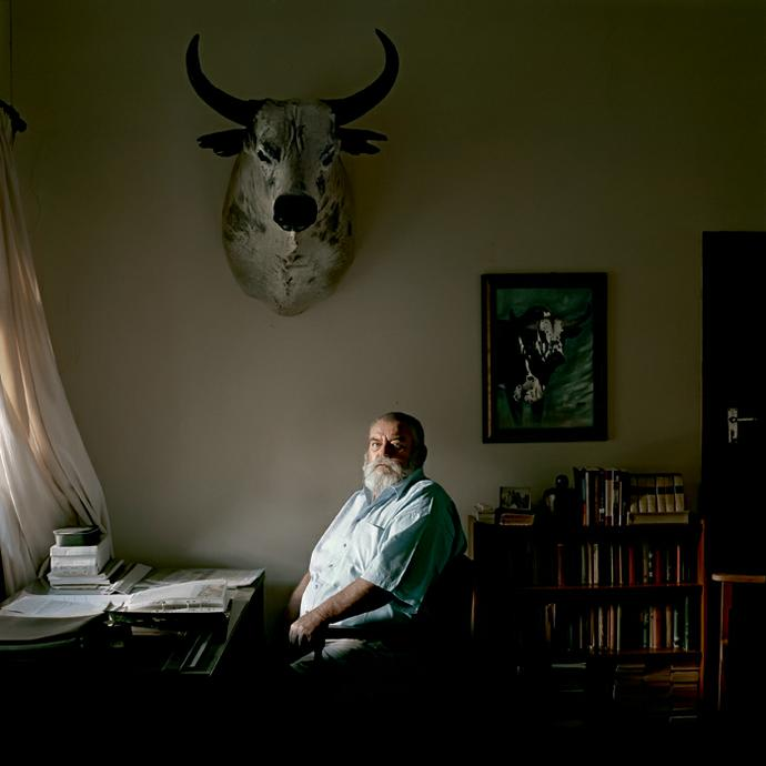 Ben Fyfer, an Nguni cattle farmer,at his desk. Louwna, North West Province, 2 March 2010