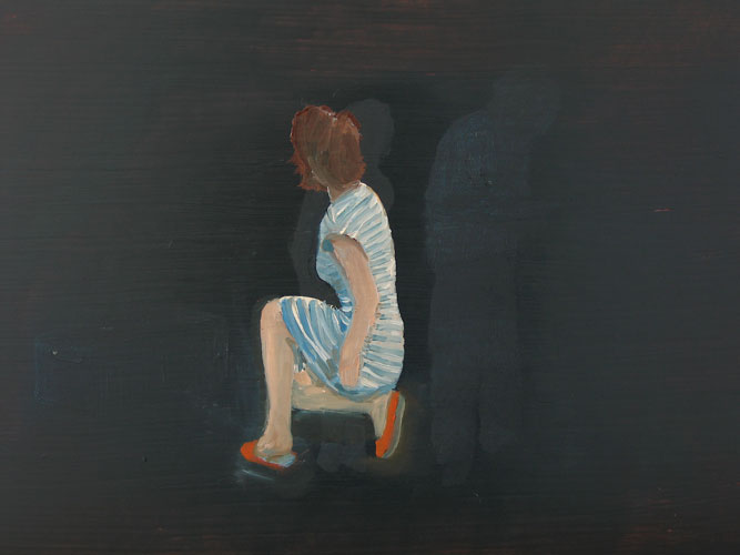 Girl with Red Slippers, oil on board, 30 x 42 cm, 2007