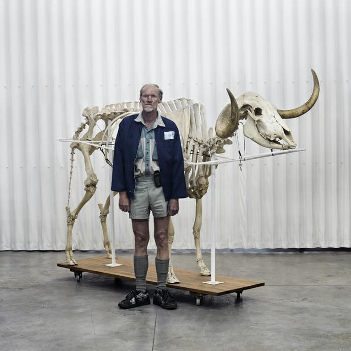 Dirk next to an Afrikaner bull skeleton. Onderstepoort, Pretoria, 27 October 2010
