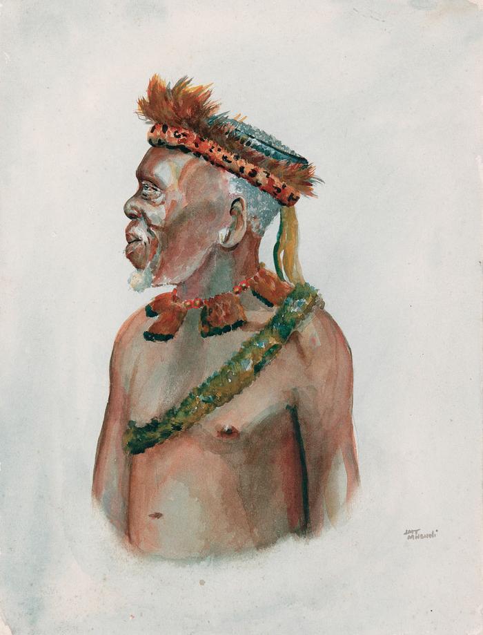 Zulu man with leopard skin headdress