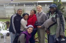 Sandra, kids, Antoinette Engel (director) , Karen Landsberg (camera) and Jabu Msomi (sound)