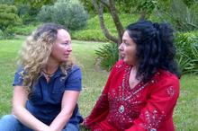 Director Izette Mostert and Lisa Chait (Show Host & Co-Producer) catch up during the shoot