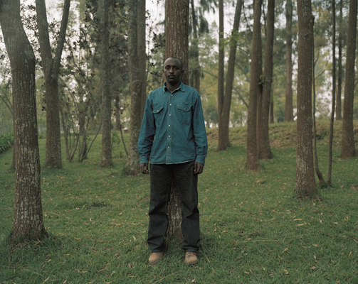 Survivor Victor Rudasingwa in the Arboretum, University of Butare