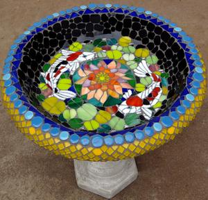 Koi fish & waterlily glass & ceramic mosaic on concrete birdbath. R1600 SOLD