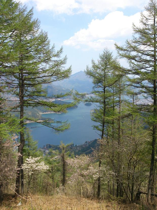View of Kawaguchiko lake from top of Ashiwada peak
