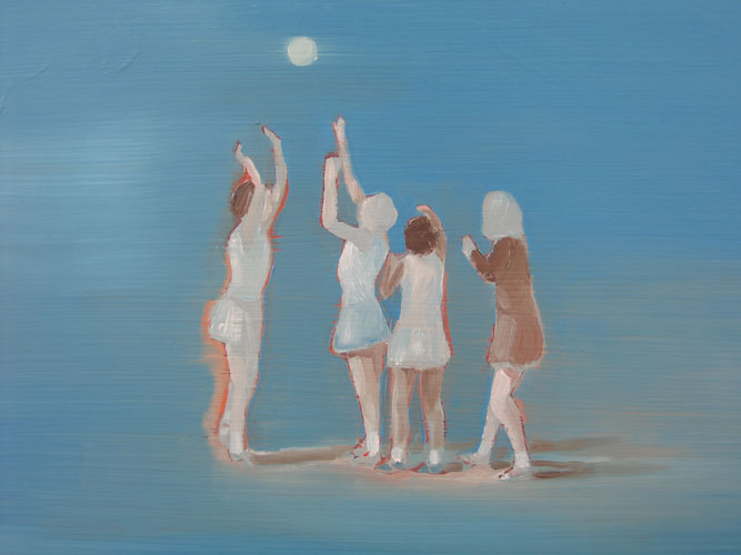 Basketgirls, oil on board, 30 x 42 cm, 2007