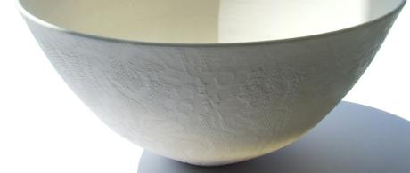 1.17 White porcelain bowl with lace glaze.