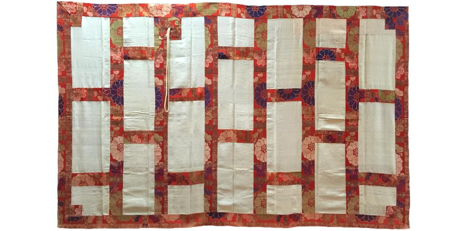 Japanese 19th century Edo silk brocade kesa, buddhist priest's vestment