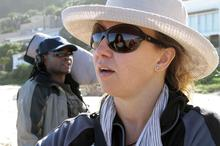 Episode director Izette Mostert with sound recordist Jabu Msomi on Noetzie Beach