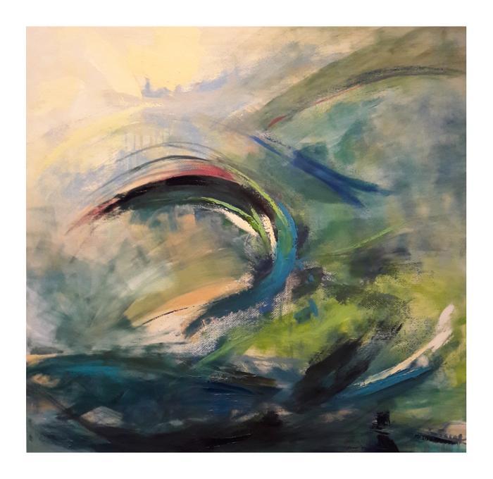 Margaret Sarambok     Wild Sea    acrylic on canvas     100 x 100    R 8000