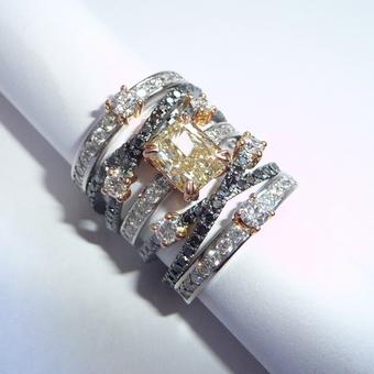 thumbnail for Black, yellow and white diamond stack rings