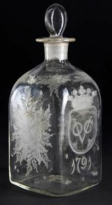 DUTCH ENGRAVED VOC GLASS DECANTER AND STOPPER, 1791