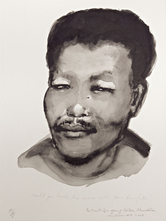 Marlene Dumas:  Portrait of a young Nelson Mandela - SOLD