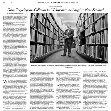 New York Times (US) - From encyclopedic collector to 'wikipedian-at-large' in New Zealand