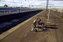 Our crew setting up on the platform next to the Phelophepa Train in Port Elizabeth