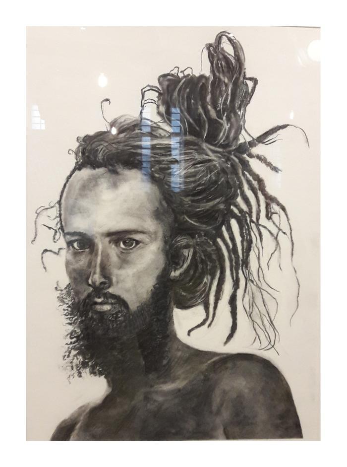 Wendy Girdlestone     Vanya Jata – Sanskrit – Wild    Dreadlocks     Charcoal on paper     53cm x 71