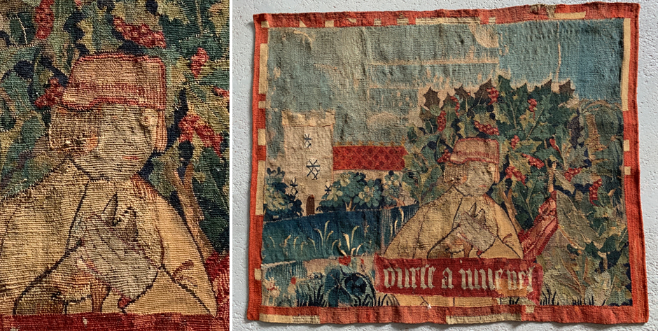 Late medieval Flemish tapestry fragment with latin inscription • circa 1500