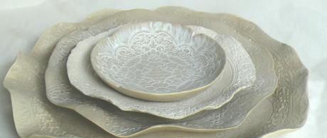 1.15 Earthenware side plate, dinner plate and platter with lace texture.