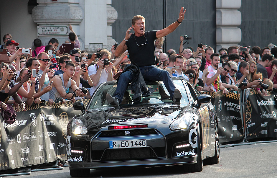 David Hasselhoff at the Gumball 3000 rally in Regent Street, June 2014