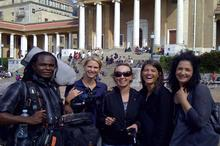 The Leap crew with Gabrielle's daughter Nadia after her interview at the University of Cape Town