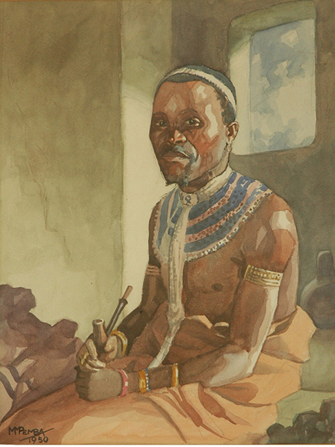 Portrait of a man in traditional Xhosa dress - SOLD