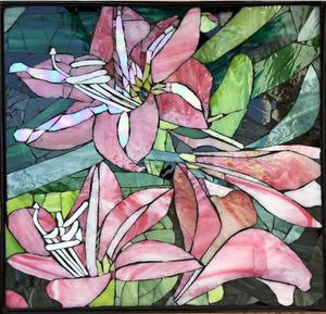 Amaryllis Lily Glass mosaic on wrought iron table. SOLD for R3000
