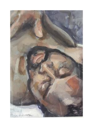 Paul Birchall      Through closed eyes     water colour on paper     20x 30 cm     sold