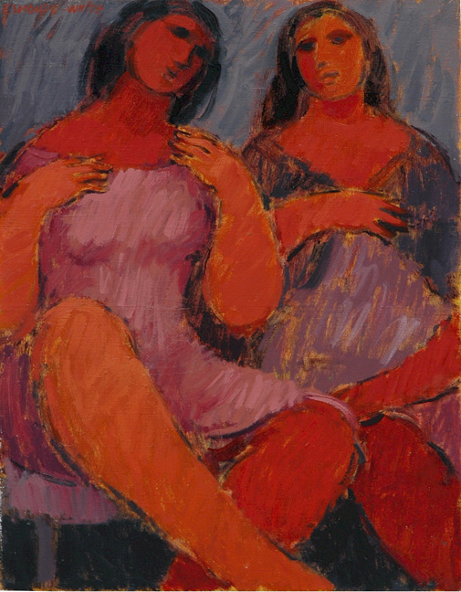 Two women in conversation - SOLD