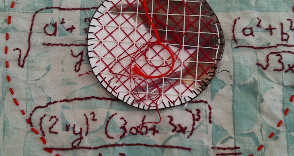 The Mysteries | embroidery on found linen